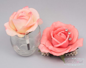 Coral Rose Wrist Corsage and Boutonniere Set. Real Touch Flowers. Caroline Rose Collection