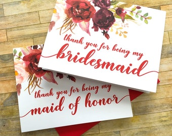 Bridesmaid Thank You Card - Thank You for Being My Bridesmaid - Red Burgandy Wedding Thank You Cards - Watercolor Maid of Honor - SANGRIA
