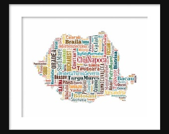 Romania Map Color Typography Map Poster Print Text Map