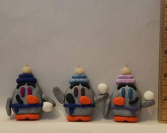 """Ornament= Winter """"Snowball"""" Penguins -Polymer Clay-"""
