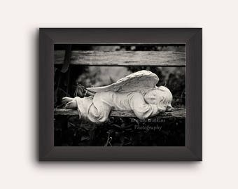 Angel Statue print, sleeping angel photography, art print, fine art photography, whimsical decor, black and white print, guardian angel