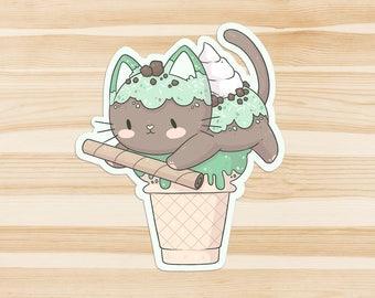 Cat Ice Cream Sticker