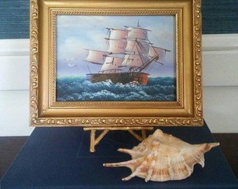 Vintage Clipper Ship Oil Painting Framed Nautical Art Marine Boat Seascape