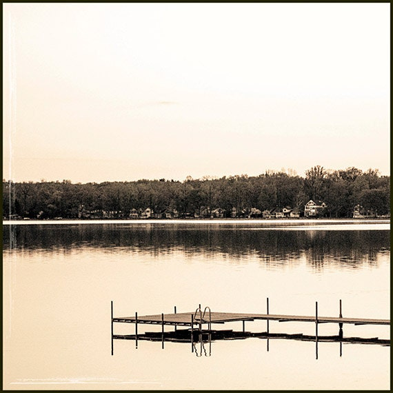 Fine Art Photography, Wall Art, Sepia Toned, Summer, Lake Scene, Dock, Cottage Print, Coastal Home Decor