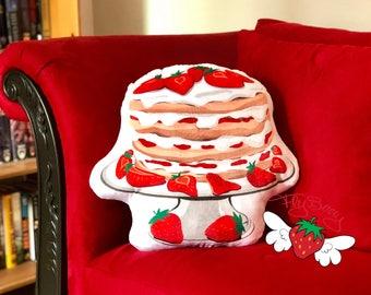 Birthday Cake Pillow - Strawberry Cake Throw Pillow - Dessert Plushie - Strawberry Shortcake Plush Toy - Birthday Gift Idea - Food Plush Toy