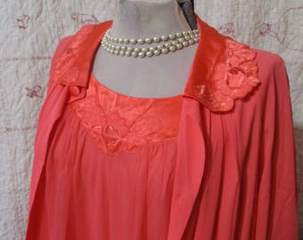 1960s Apricot Gossard Artemis dressing gown robe set Small Nylon Styles 5101 & 7103 USA buttons sheer