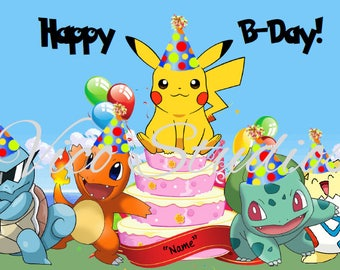 Personalize your own Pokemon Happy Birthday Card Pikachu Charmander Squirtle Bulbasaur Tagepi