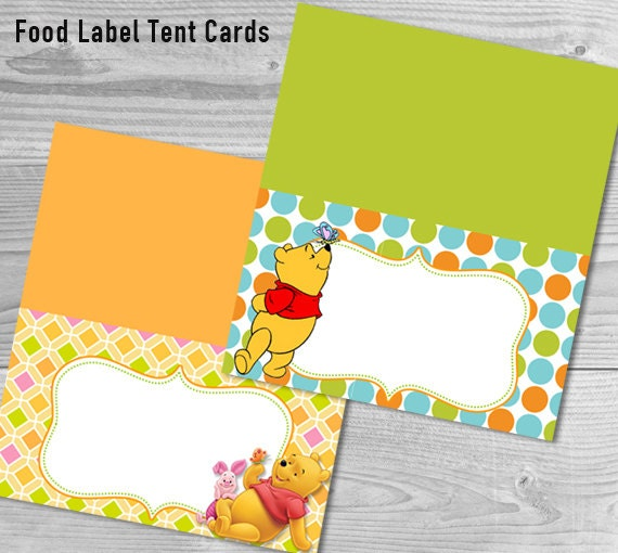 Food label tent cards winnie the pooh baby shower winnie the pooh decorations instant download