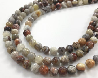 3 Full Strands 6mm Lace Agate Round Beads ,  Wholesale Gemstone Beads, Suppplies