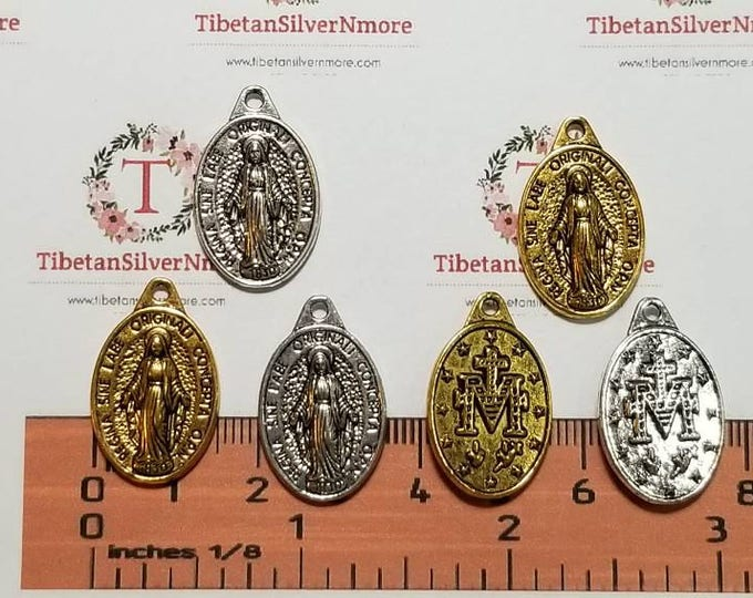 8 pcs per pack 25x16mm Miraculous Charm Antique Gold or Silver Lead free Pewter