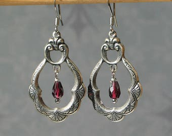 Antiqued Silver Ornate Scalloped Earrings with Faceted Garnet Teardrops