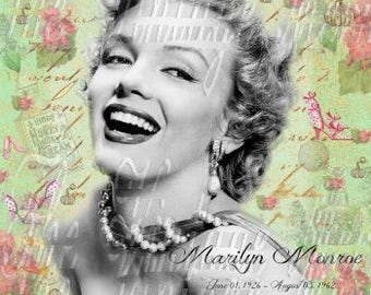 Marilyn Monroe Fabric Quilt Block Flowers Black White Vintage Photo VW20