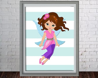 Printable Wall Art Print - 8x10 Fairy - Pink Fairy - Instant Download - Can Customize