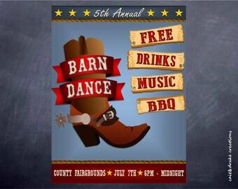 Barn Dance Western Celebration Flyer Digital Printable