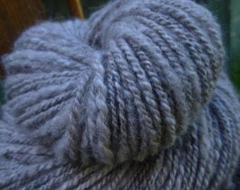 Handspun Yarn, Art yarn, Natural Coloured Yarn, Thick & Thin Yarn, 2 Ply yarn: WOOD SMOKE
