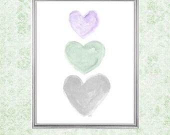 Purple, Mint and Gray Nursery, Lavender and Mint Nursery Art, 8x10 Watercolor Print, Mint Decor, Pastel Nursery, Watercolor Nursery Art