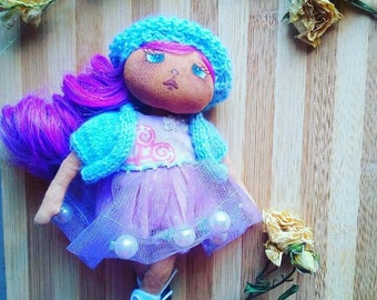 Collectibile Handmade Fabric  Textile Artistic Doll.