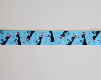 "Ribbon grosgrain ""black cat"""