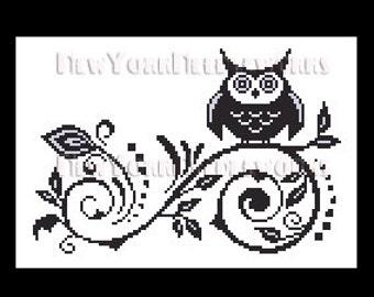 Owl Cross Stitch, Owl Silhouette, Owl Cross Stitch Pattern, Cross Stitch, Animals, Crochet Pattern, Owls by NewYorkNeedleworks on Etsy