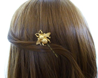 Bee Hair Clip Bumblebee Bobby Pin Gold Honey Insect Keeper Bug Nature Garden Woodland Girls Accessories Womens Gift For Her Spring Easter