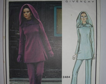 Givenchy/Vogue/ Sewing Patterns/Hoodie/Pants/Tunic/Top/Hubert de Givenchy/Vintage patterns/hood/60's/DIY