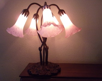 Vintage Bronze Lilly Pad Tiffany Style Lamp 5 Lights With Globes