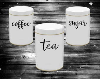 Kitchen Canister Labels  ||  Vinyl Decal  ||  Tea, Coffee, & Sugar