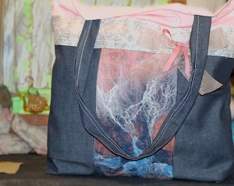 Large Hand Felted and Denim Tote Bag