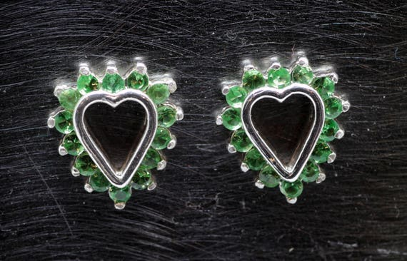 0.93 Carat (total weight approx) Tsavorite Garnet Gemstone Stud Earrings Sterling Silver