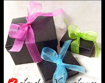 Gift Wrap For Your Item - Black Gift Box With Choice Of Color Ribbon