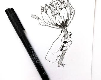 Protea Botanical Drawing, Flower Art, Pen and Ink Art, Black and White Minimalist Wall Art, Florals, Simple Home Decor Gift