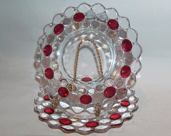 "8173: Vintage Westmoreland SET 2 Thousand Eye Ruby Flashed Plate 7.25"" Salad Luncheon Elegant Depression Glass at Vintageway Furniture"
