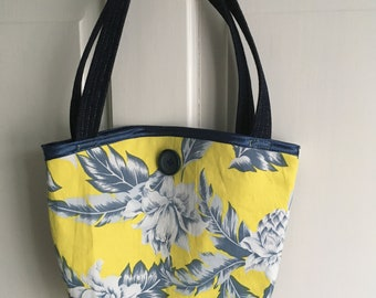 Upcycled/recycled small denim handbag bag,floral design fabric, with reflective patches, one of a kind