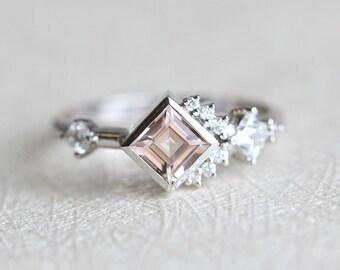Engagement Ring, Diamond Cluster Ring, Cluster Engagement Ring, Morganite Engagement Ring, Morganite Diamond Ring, Princess Cut Ring