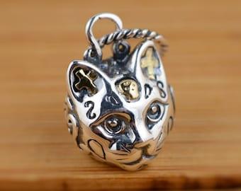 Sterling Silver Cat Sugar Skull Pendant, Day of the Dead, Cat Pendant, Silver Skull Pendant, Cat Jewelry, Gato, Dia de Muertos,Kitty Jewelry