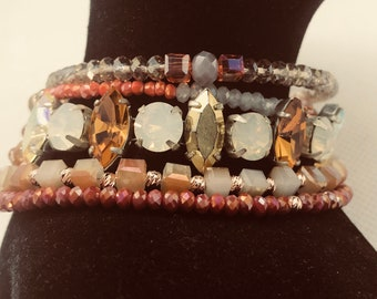 Triple row crystal bracelet