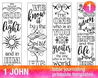 4 Bible Journaling Printable Illustrated Faith Bible Journaling Template Bible Journaling Stencils Bible Verse Coloring Set  1 JOHN