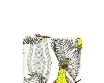 Handmade wallet - tropical birds, jungle
