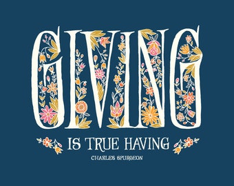 Giving is True Having floral inspirational wall hanging grandmother gift hand lettering folk art housewarming gift for her inspirational