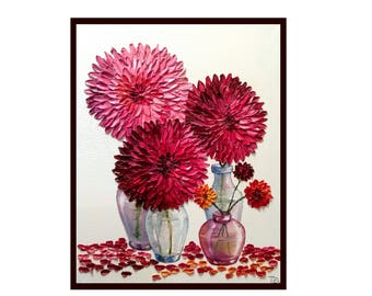"""Dahlias in Glass Vases FREE SHIPPING Original oil impasto painting stretched canvas 16"""" X 20""""  No.04-66 ready to hang"""