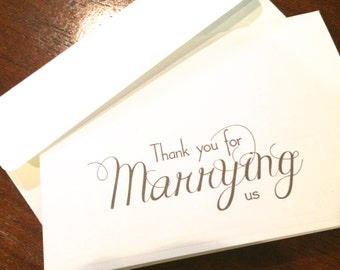 Thank you for marrying us Wedding deacon priest minister thank you notecard white or natural 3.5 x 5 inches --choice of envelope color