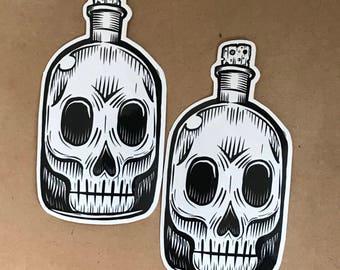 Skull Bottle Sticker - Outsider art by Kevin Kosmicki (2 pack)