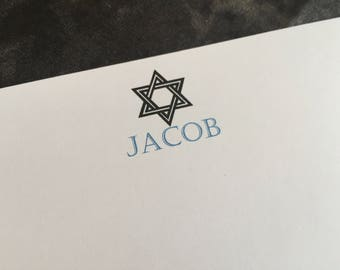 Personalized note cards set of 25, Bar Mitzvah thank you cards, bat mitzvah thank you cards