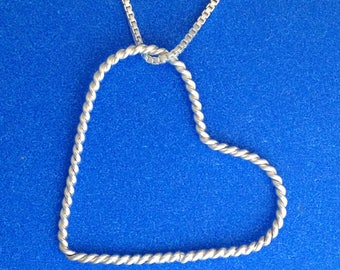 Rope Heart in Sterling Silver with 18 inch Sterling Silver Box Link Chain Gift for Wife or Girlfriend Hand Crafted