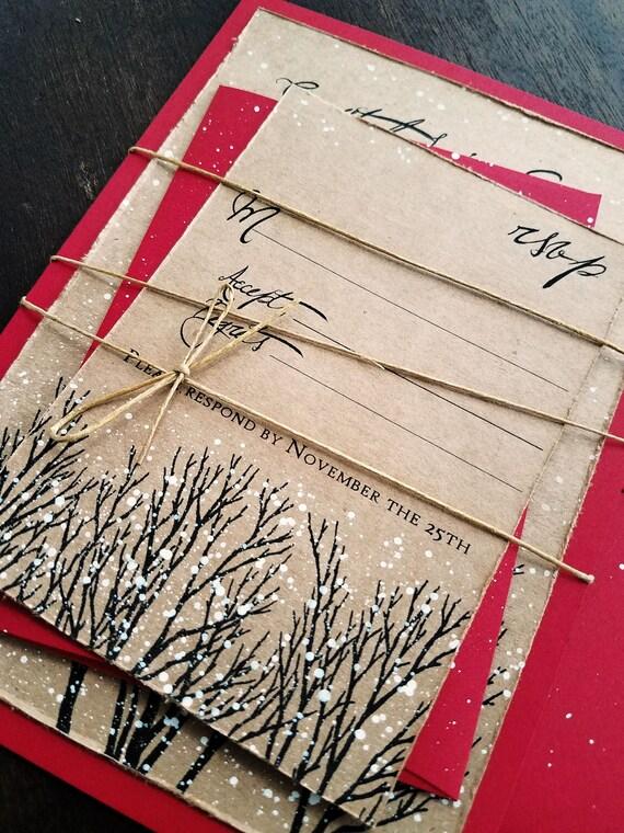 Winter Hochzeit Einladung Weihnachten Hochzeit Einladung