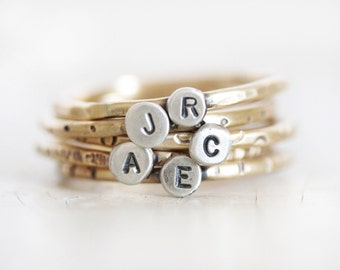 Personalized / Initial Ring / Mothers Ring / Gift for Mom / Stacking Rustic Ring / Initial Rings / Mother Ring/ Personalized Ring / Love