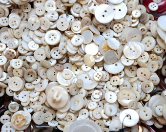 Pound of Mother of Pearl Buttons, vintage button lot, pound of buttons, bulk buttons, craft buttons, shabby vase filler, mop buttons