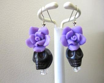 Day Of The Dead Earrings Sugar Skull Jewelry Black Purple Flower