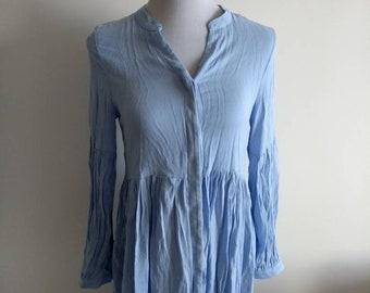 Blue shirt dress/ dipped hem / boho/ casual / summer
