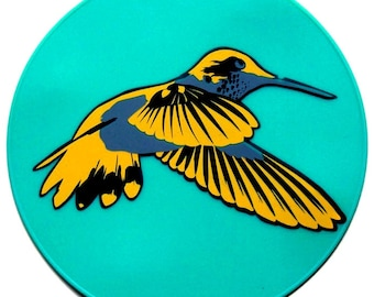 Turquoise Silicone Hummingbird Table Trivet, Kitchen Hot Pad, Table Centerpiece